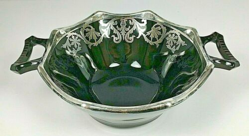 Vintage Black Amethyst Glass Silver Overlay Cornflower Handled Bowl
