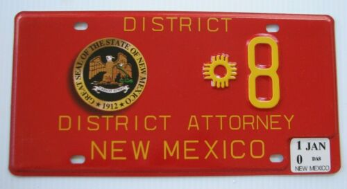 """NEW MEXICO DISTRICT ATTORNEY LICENSE PLATE """" * 8 """"  NM  STATE SEAL COURT LEGAL"""