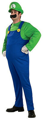 Luigi Super Mario Brothers Nintendo Plumber Fancy Dress Halloween Adult Costume