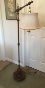 vintage tri-light floor lamp- wooden, with shade