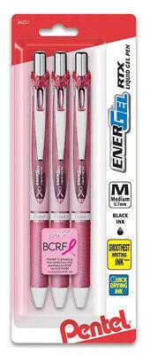 Pentel Energel Deluxe Liquid Gel Pens Black Ink Medium 0.7mm Line Pink Barrel