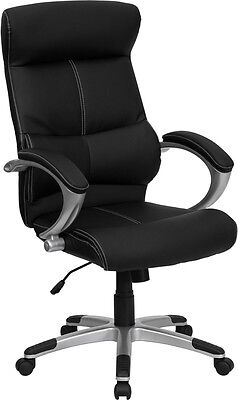 Black Leather Upholstery With White Stitching High Back Office Desk Chair