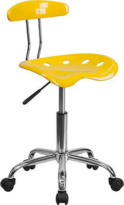 Flash Furniture Vibrant Orange-yellow And Chrome Task Chair With Tractor Seat