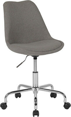 Aurora Series Mid-Back Light Gray Fabric Chair w/ Pneumatic Lift and Chrome base Back Pneumatic Swivel Chair