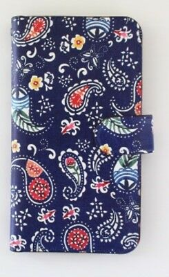 Okinawa Paisley Navy Blue iPhone Wallet Case Leather cover 6/6S/7 Original