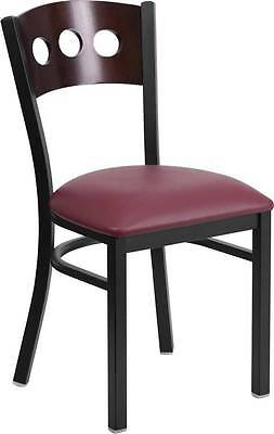 Black Decorative 3 Circle Back Metal Restaurant Chair Walnut Wood Backburgundy