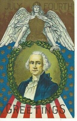 ANTIQUE EMBOSSED PATRIOTIC Postcard     JULY FOURTH  -  GEORGE WASHINGTON