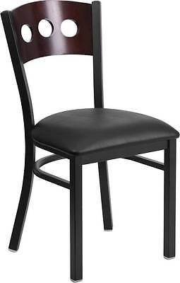 Black Decorative 3 Circle Back Metal Restaurant Chair - Walnut Wood Back Black