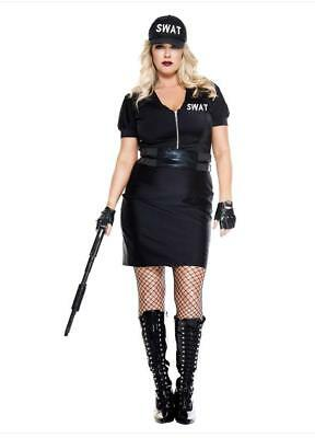 Music Legs Swat Agent Plus Size Halloween Women's Costume 70957Q Officer - Plus Size Police Woman Halloween Costume