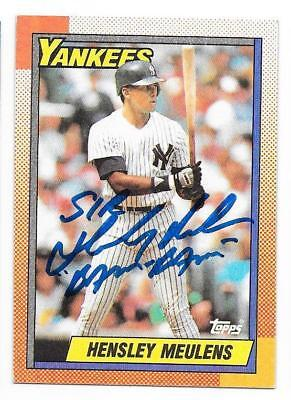 HENSLEY MEULENS 1990 TOPPS AUTOGRAPHED SIGNED # 83 YANKEES