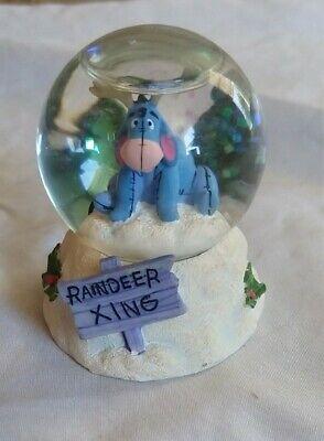 "Disney Eeyore Raindeer Xing Christmas Mini Snow Globe 2.75"" -Mint Condition"