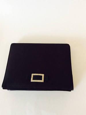 Vintage Lewis Satin Black Evening Handbag Square Clutch Wedding Purse Glam 70's Glam Wedding Clutch