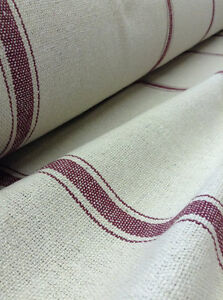 SALE Grain Sack Fabric - Cream Fabric w/3 Burgundy Stripes