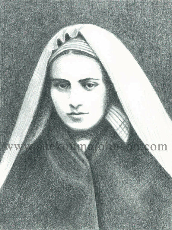 "ST. BERNADETTE of LOURDES—pencil—8.5 x 11""—Catholic Art Print—Confirmation Gift"
