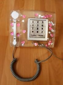 Funky girly home phone with pink hearts, in good condition