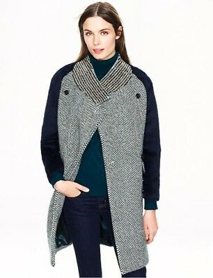NWT JCrew Collection Tweed Coat Jewelled Collar $1865  Italian Alpaca Size2