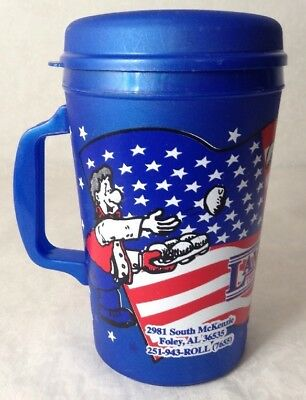 Lamberts Restaurant 22oz Travel Mug Aladdin Home of Throwed Rolls Patriotic Flag