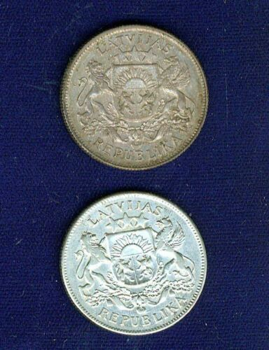LATVIA  1925 & 1926   2 LATI SILVER COINS   ALMOST UNCIRCULATED/AU+