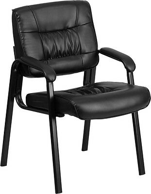 Black Leather Reception Chair - Office Waiting Room Chair W Black Frame Finish