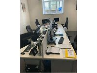 4 desk and 6 desk White Office pod/bench/hot desk/call centre desks prices vary read description