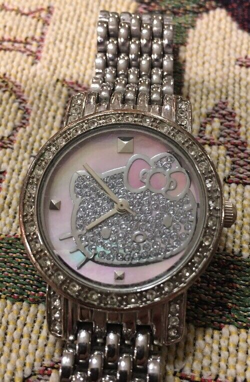 Hello Kitty Japan Stainless Steel Mother Of Pearl Rhinstone Watch