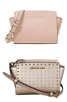 🌸NWT Michael Kors SELMA STUD Mini  Leather Crossbody Bag messenger satchel tote Studded Leather Mini