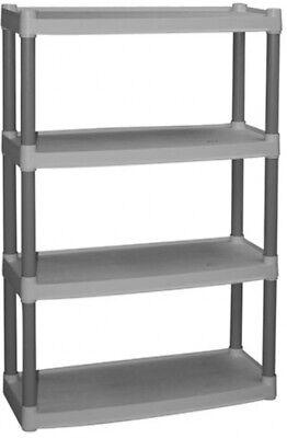 4 Shelf Storage Unit Heavy Duty Plastic Shelf Garage Rack Shelving Organizer NEW