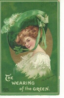 """ANTIQUE ST. PATRICK'S DAY Postcard  (ELLEN CLAPSADDLE) """"THE WEARING OF THE GREEN"""