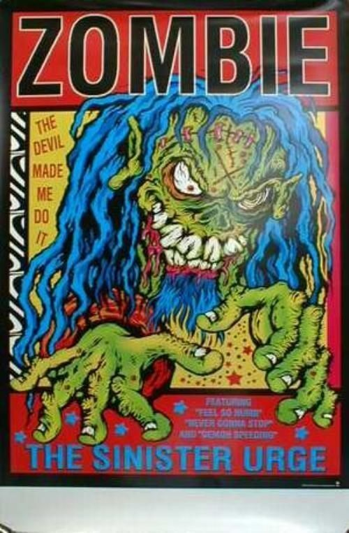 ROB ZOMBIE 2002 BIG sinister urge promotional poster Flawless New Old Stock