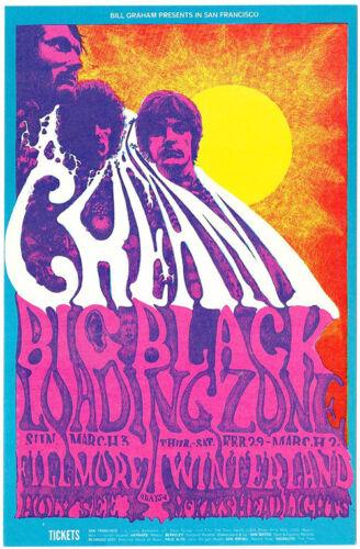 CREAM Big Black LOADING ZONE 1968 Original FILLMORE POSTCARD BG 109