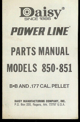 *Copy Daisy Power Line 850/851 BB Pellet Rifle Gun Illustrated Parts List Manual for sale  Shipping to Canada
