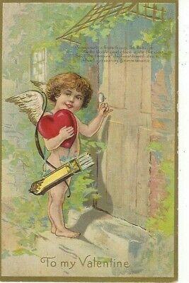 ANTIQUE EMBOSSED VALENTINE Postcard   CUPID HOLDING HEART, KNOCKING ON DOOR
