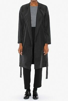 American Apparel Lightweight Dylan Trench Coat Off-black Medium / Large
