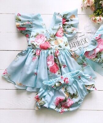 US Newborn Baby Girl Fly Sleeve Cotton Dress Top Shorts Pants Clothes Outfits Dress Top Pants Shorts
