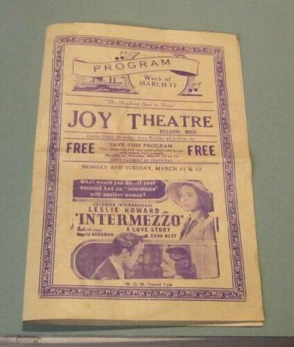 1940 Joy Theatre Belzoni MS Movie Flyer Program Ingrid Bergman John Wayne