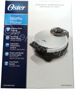 Oster-Stainless-Steel-Round-Belgian-Waffle-Maker-Iron-Press-Shade-Control