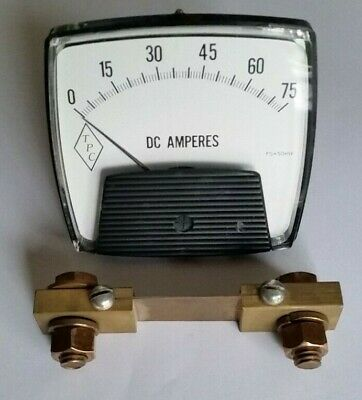Current Shunt Resistor 75a 50mv And Analog Amp Meter 0-75a Ammeter Tpc Qh11
