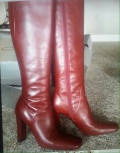Hot Red Knee High Leather High Heeled Boots