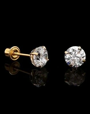 14K Solid Yellow Gold Solitaire Basket Studs Round Created Diamond Earrings -