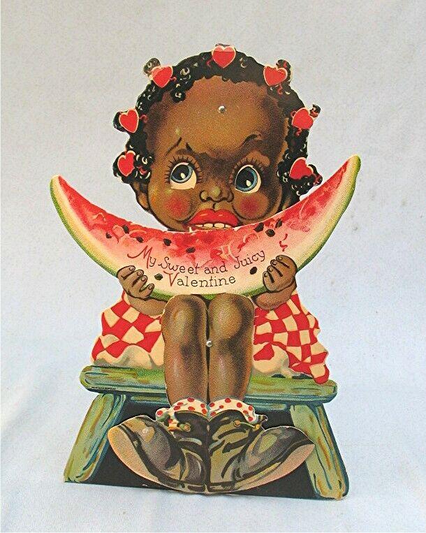 Vintage Large Die Cut Valentine with Black Child Eating Watermelon