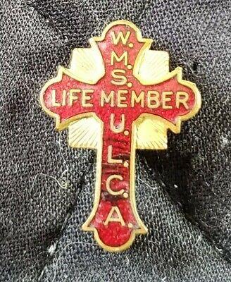 (Vintage Crucifix Cross Religious Lapel Pin WMS ULCA Life Member)