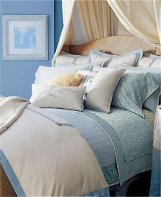 Ralph Lauren Indochine Linen Cream Blue Linen 6pc King Duvet Cover Set New