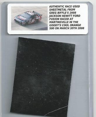 GREG BIFFLE NASCAR RACE USED SHEET METAL PIECE 2008 MARTINSVILLE CAR GB 151