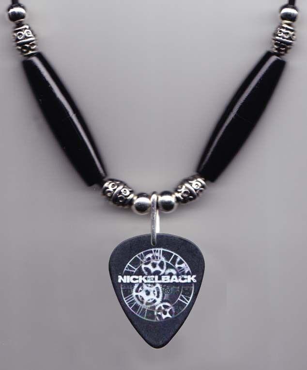 Nickelback Chad Kroeger Signature Black Guitar Pick Necklace - 2012 Tour