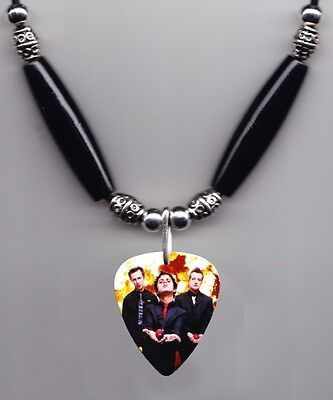 Green Day Band Photo Guitar Pick Necklace