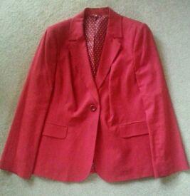 Ladies Red Linen Blazer size 16