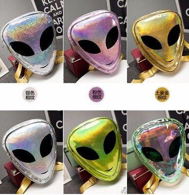 Clear Alien Backpack (Holographic Alien Backpack Laser Transparent Hologram Alien Head Bag UFO)