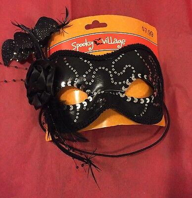 Spooky Village Masquerade Mask Black And Silver With Bats](Spooky Masks)