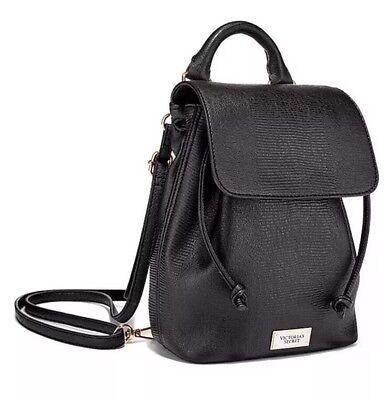 Victoria's Secret Mini Backpack Drawstring Bag Black Lizard Faux Leather