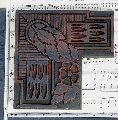 Rare Ornament Letterpress Wood Printing Block Rare Art Nouveau Print Antique